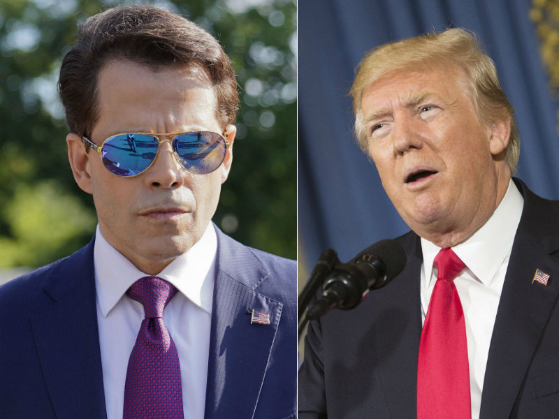 Anthony Scaramucci, left, and U.S. President Donald Trump, right.