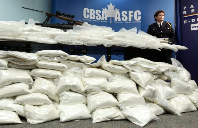 A large seizure of ketamine during a news conference in Vancouver, B.C., January 26, 2011, after 1,000 kg of ketamine worth over $15 million was found aboard a cargo ship arriving from Hong Kong.