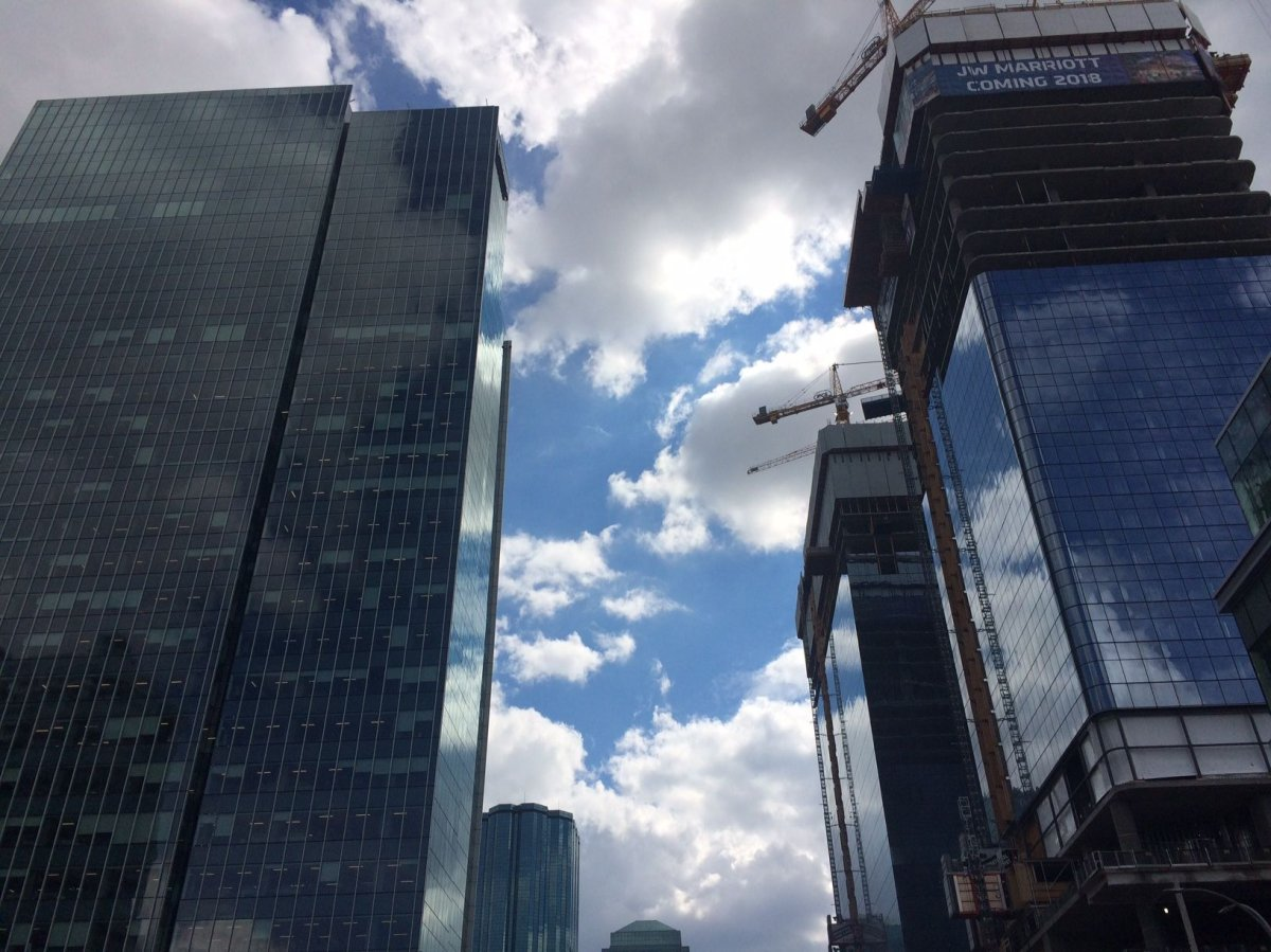 Towers in downtown Edmonton, near 104 Avenue and 101 Street on Wednesday, Aug. 2, 2017.