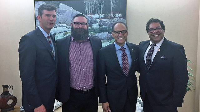 Mayor Don Iveson, Minister Shaye Anderson, Minister Joe Ceci and Mayor Naheed Nenshi mark the establishment of city charters for the province's two big cities.