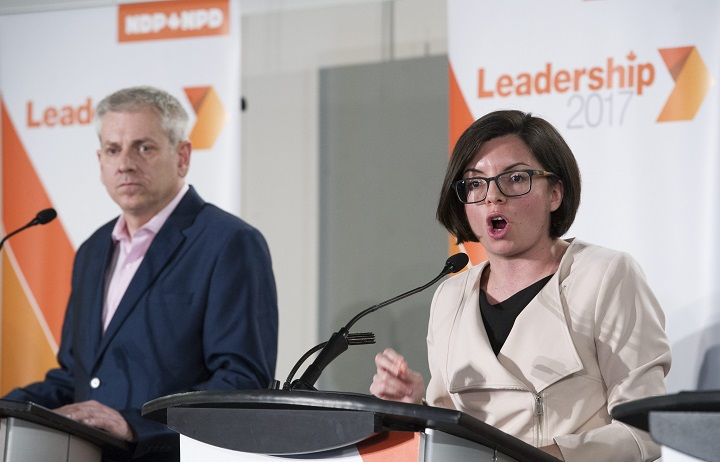 In this file photo, NDP leadership candidates Charlie Angus, left, and Niki Ashton particpate in a leadership debate in Montreal, Sunday, March 26, 2017.