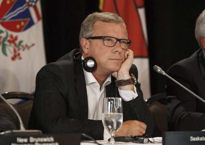 Saskatchewan Premier Brad Wall takes part in the final press conference during the Council of Federation meetings in Edmonton Alta, on Wednesday July 19, 2017.  Wall says he is retiring from politics after a decade as premier of Saskatchewan.
