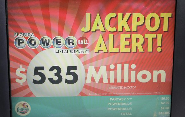 A Powerball Jackpot alert is shown on the screen of a monitor at a gas station, Friday, Aug. 18, 2017, in Hialeah, Fla  .