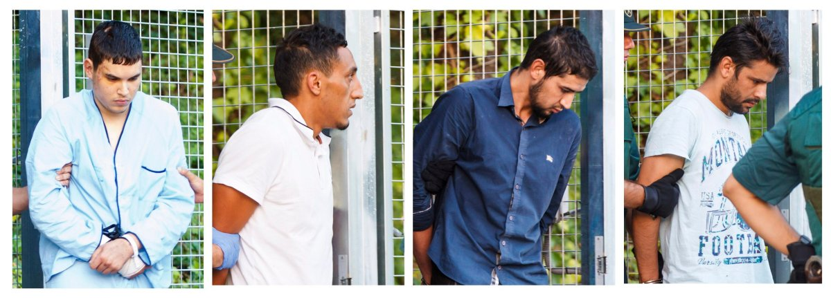 In this combination photo, four un-named alleged members of a terror cell accused of killing 15 people in attacks in Barcelona leaves a Civil Guard base on the outskirts of Madrid before appearing in court in Madrid, Spain, Tuesday Aug. 22, 2017.