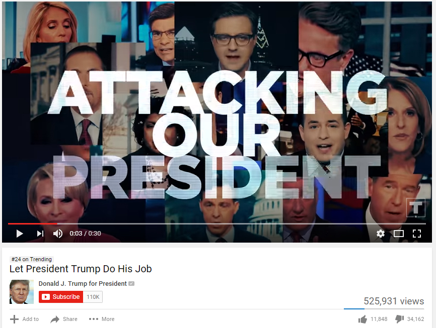 A video posted by U.S. president Donald Trump's campaign had had over 1.4 million views on Youtube.