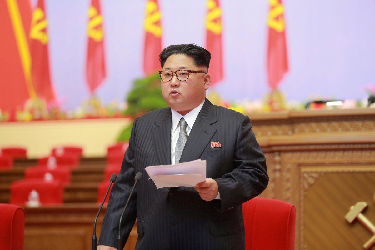 North Korean leader Kim Jong-Un speaks during the first congress of the country's ruling Workers' Party in 36 years in Pyongyang, in this handout photo provided by KCNA on May 6, 2016.