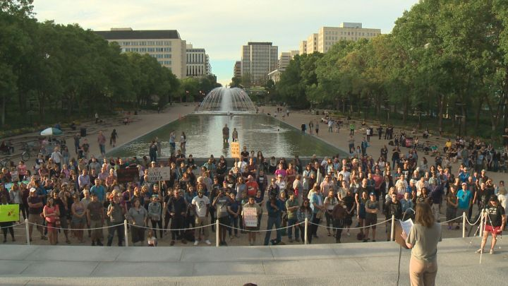 Spurred on by a violent and deadly confrontation between white nationalists and anti-racists in Charlottesville, Va. earlier this month, dozens of Edmontonians gathered at the Alberta legislature Saturday night to speak out against racism and bigotry.