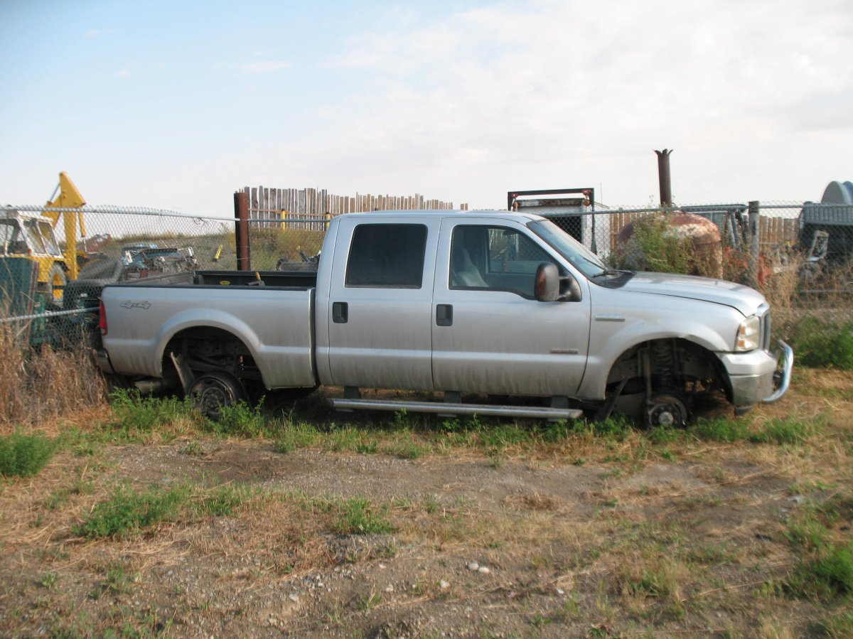 Police say this Ford F-350 was involved in a multi-jurisdiction pursuit on August 11, 2017.