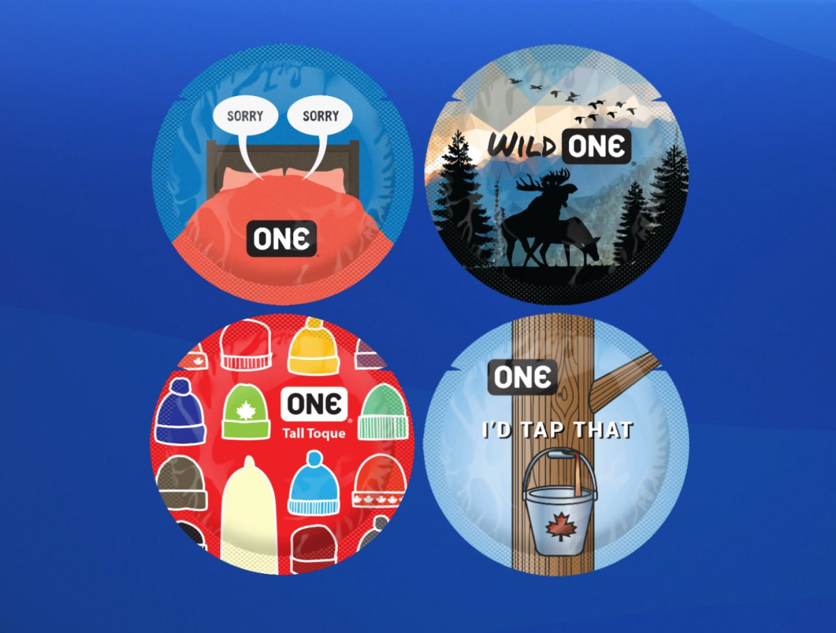 The winning condom wrapper design from Toronto, top right, and the three runner-up winning designs from Nova Scotia artists in the ONE Condoms ONE Canada Design Contest.