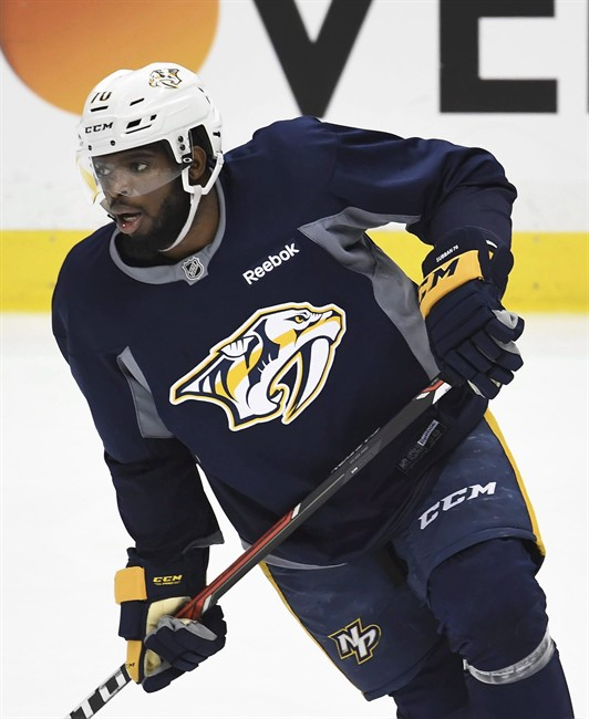 Nashville Predators P.K. Subban skates up ice during afternoon hockey practice before Game 2 of the Stanley Cup Finals against the Pittsburgh Penguins at PPG Paints Arena in Pittsburgh, Wednesday, May 31, 2017.