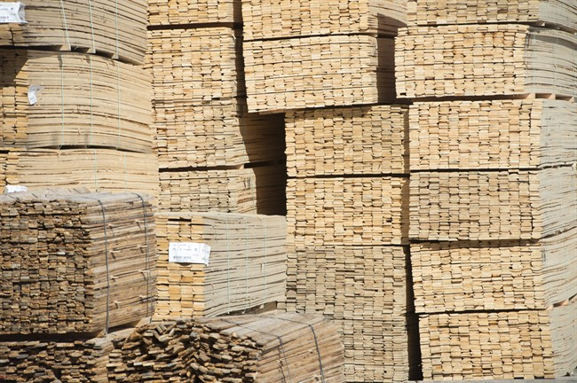 Stacks of lumber are pictured at NMV Lumber in Merritt, B.C., Tuesday, May 2, 2017.