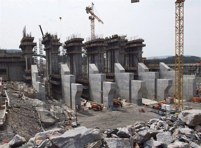 The construction site of the hydroelectric facility at Muskrat Falls, Newfoundland and Labrador is seen on July 14, 2015.
