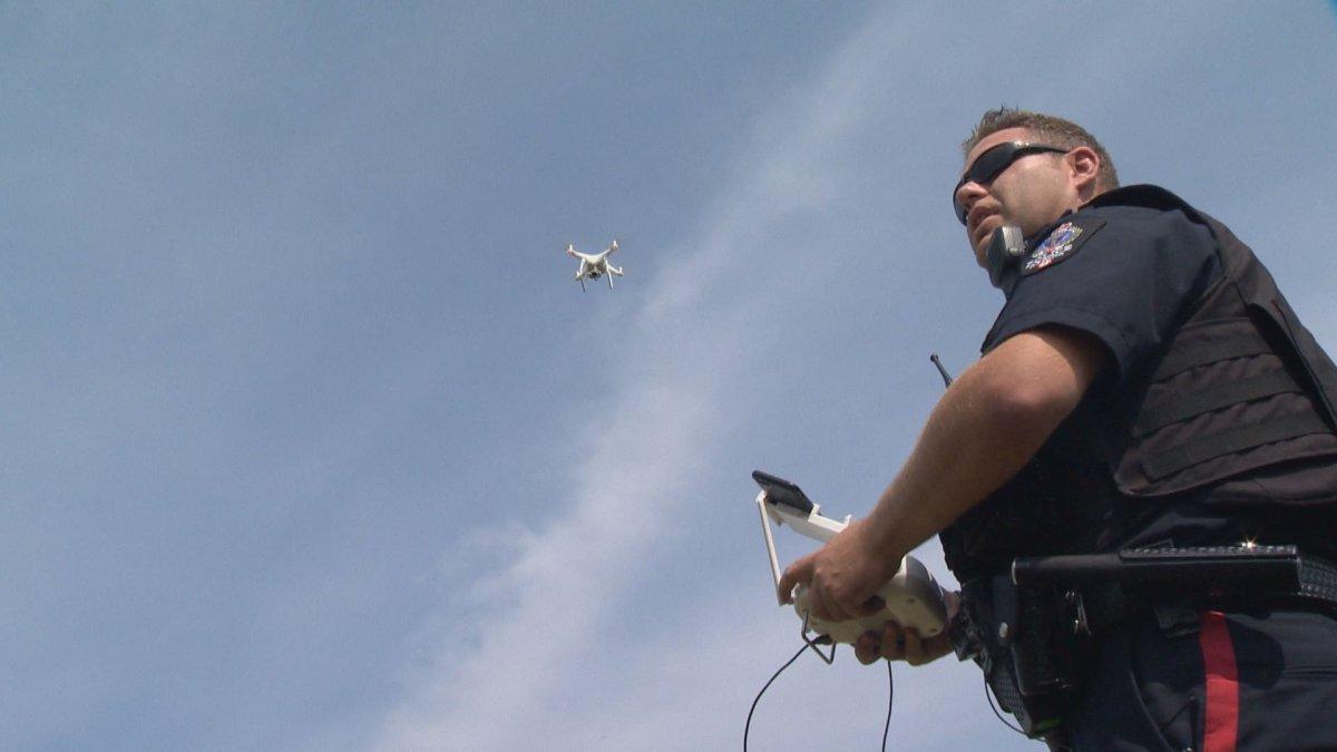 Cst. Curtis Warnar pilots a Regina Police Service UAV.