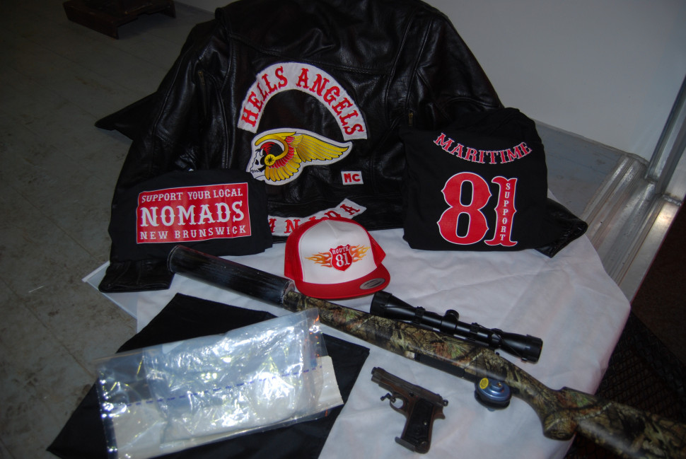 A display of the items seized during an joint investigation by the New Brunswick RCMP and five other law enforcement departments.