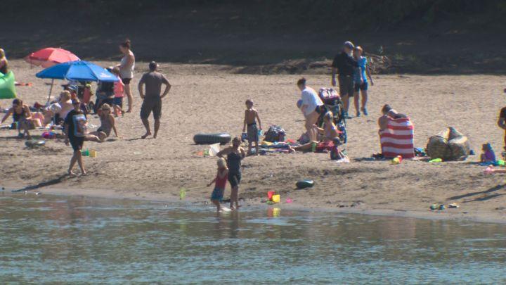 "Edmonton's new ""accidental beach"" along the North Saskatchewan River."