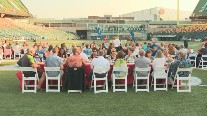 It's Edmonton's biggest picnic. Hundreds of people gathered at Commonwealth Field on Wednesday to eat at Feast on the Field, an event to support the CapitalCare Foundation.