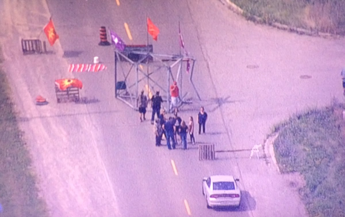 Protesters set up a blockade in Caledonia on Aug. 10.