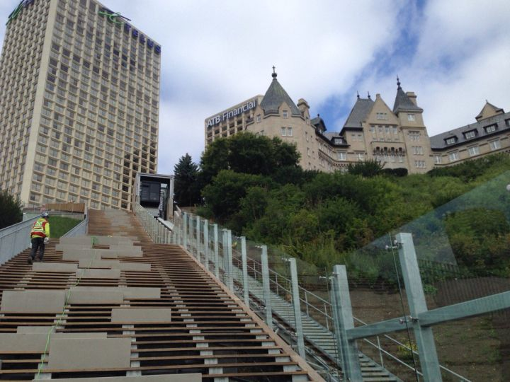 Edmonton's funicular is nearing completion, set to open in the fall. Tuesday, Aug. 8, 2017.