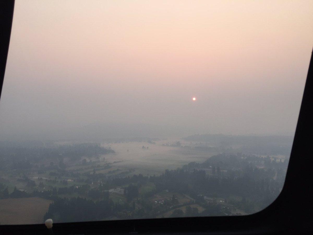 A hazy sunrise over Vancouver Thursday morning.