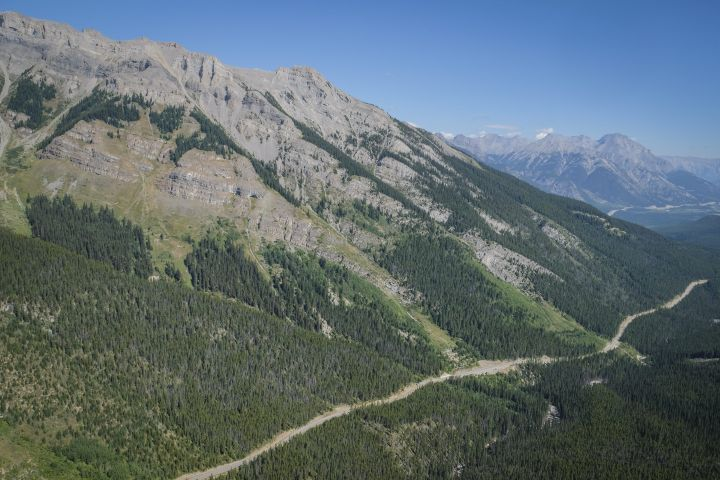 Highway 93 makes its way through Banff National Park, Alta. on Tuesday, Aug. 22, 2017.