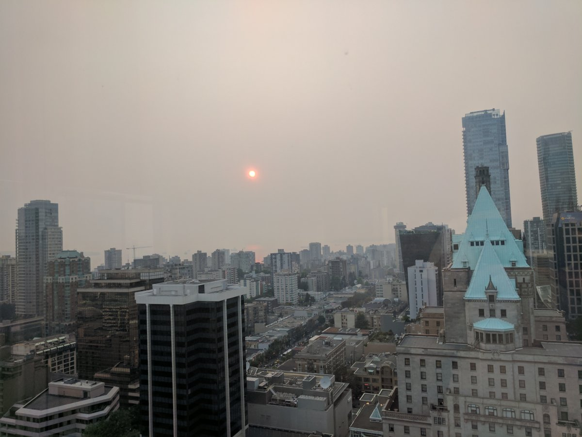 A smoky Vancouver sunset on Wednesday, August 2.