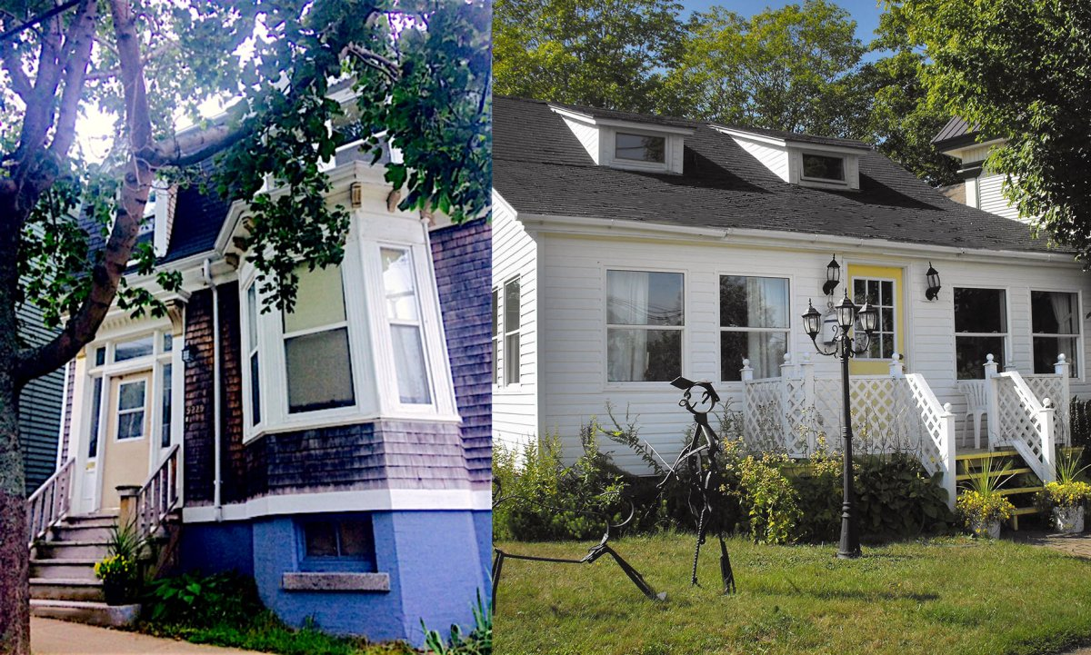 Terri McCulloch rents the house where she lives in Halifax (left). The property she owns is in Parrsboro, N.S. (right).