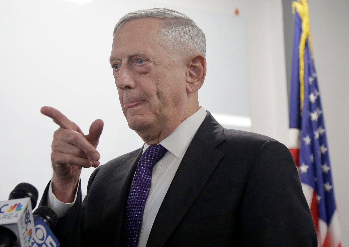 Secretary of Defense Jim Mattis answers questions while speaking at the Defense Innovation Unit Experimental in Mountain View, Calif.