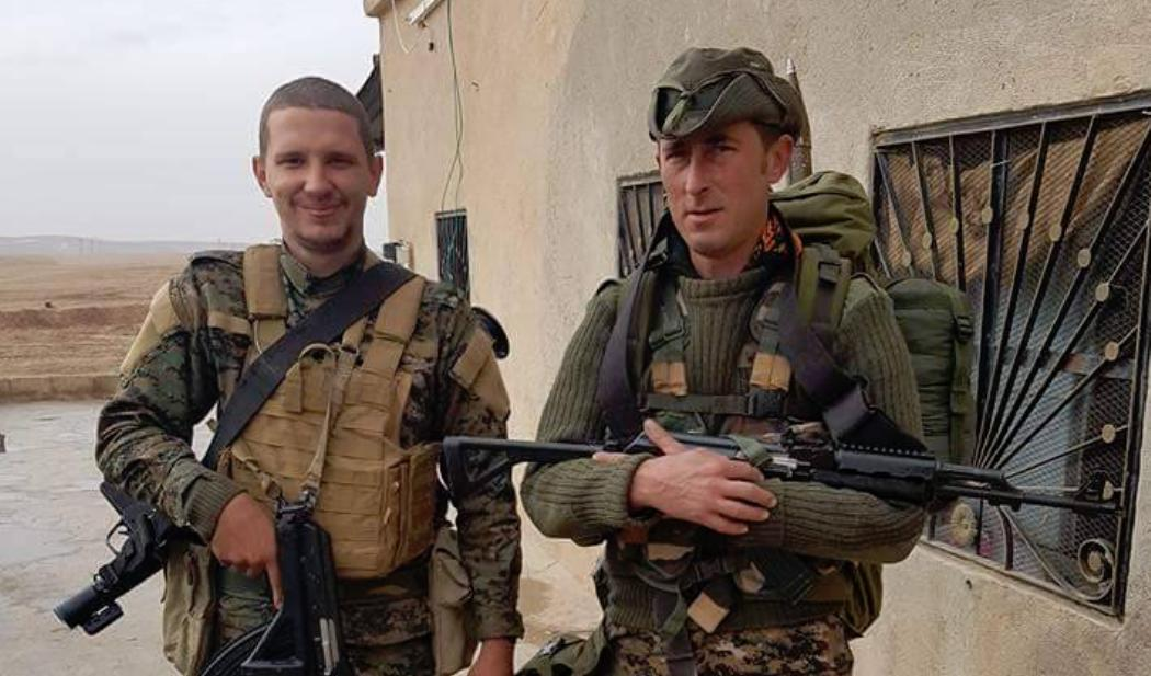 Andrew Woodhead, right, with Canadian anti-ISIS volunteer Nazzareno Tassone in northern Syria.