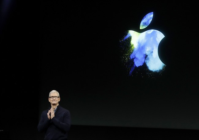 Apple CEO Tim Cook speaks during an announcement of new products in Cupertino, Calif.