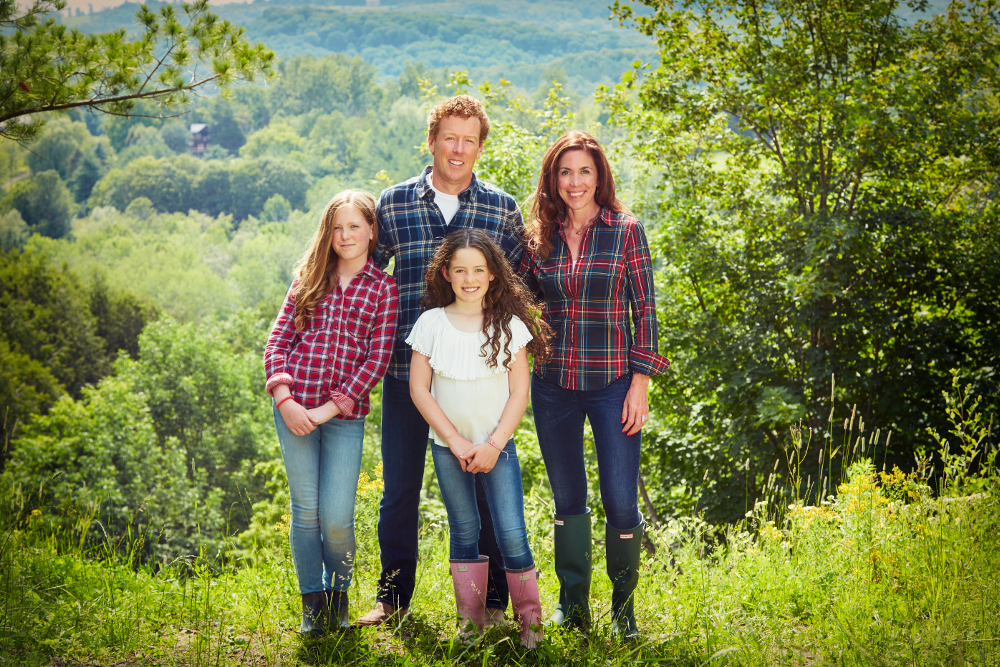 Sarah Richardson with husband, Alex, and daughters Robin (left) and Fiona (centre).