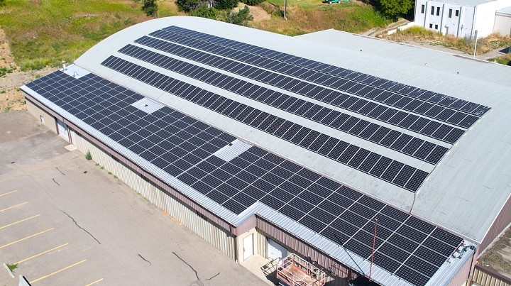 Solar panels were recently installed at the Charlie Cheeseman Memorial Ice Arena.