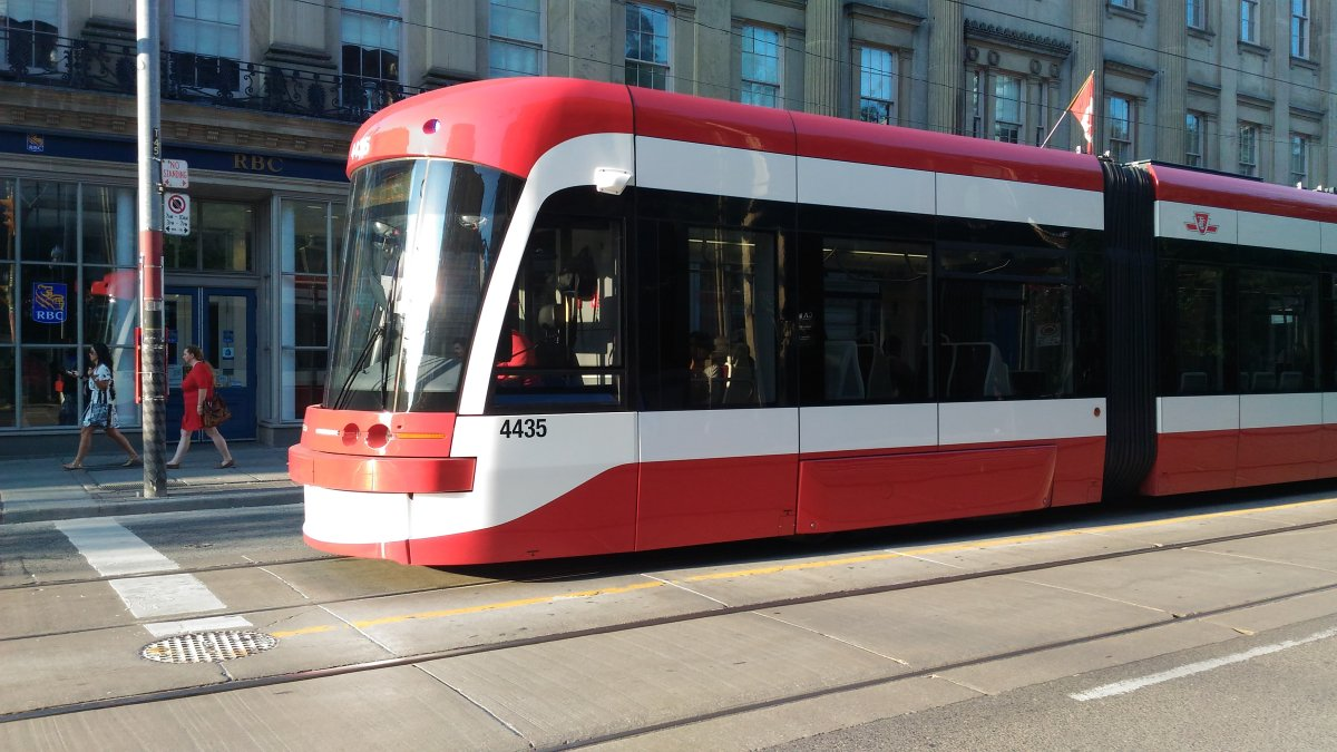 The 514 Cherry streetcar on King Street seen in July of 2017.