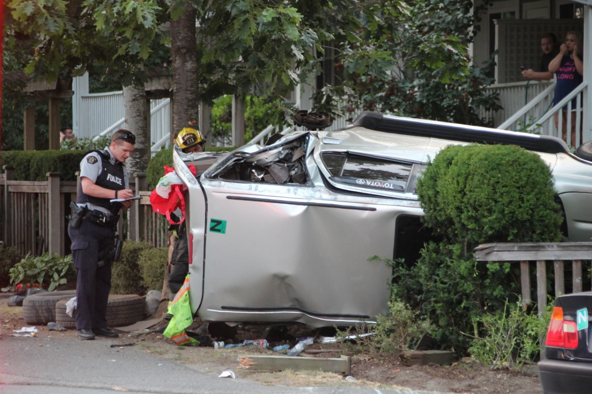 The Toyota SUV ended up on its side near some homes.