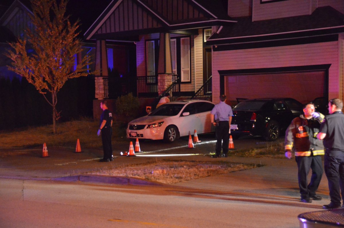The scene of a shooting in Surrey outside a residence at 166 St. and 64 Ave. on Aug. 29, 2017.