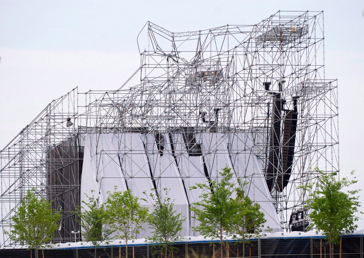 A collapsed stage is shown at a Radiohead concert at Downsview Park in Toronto on June 16, 2012.