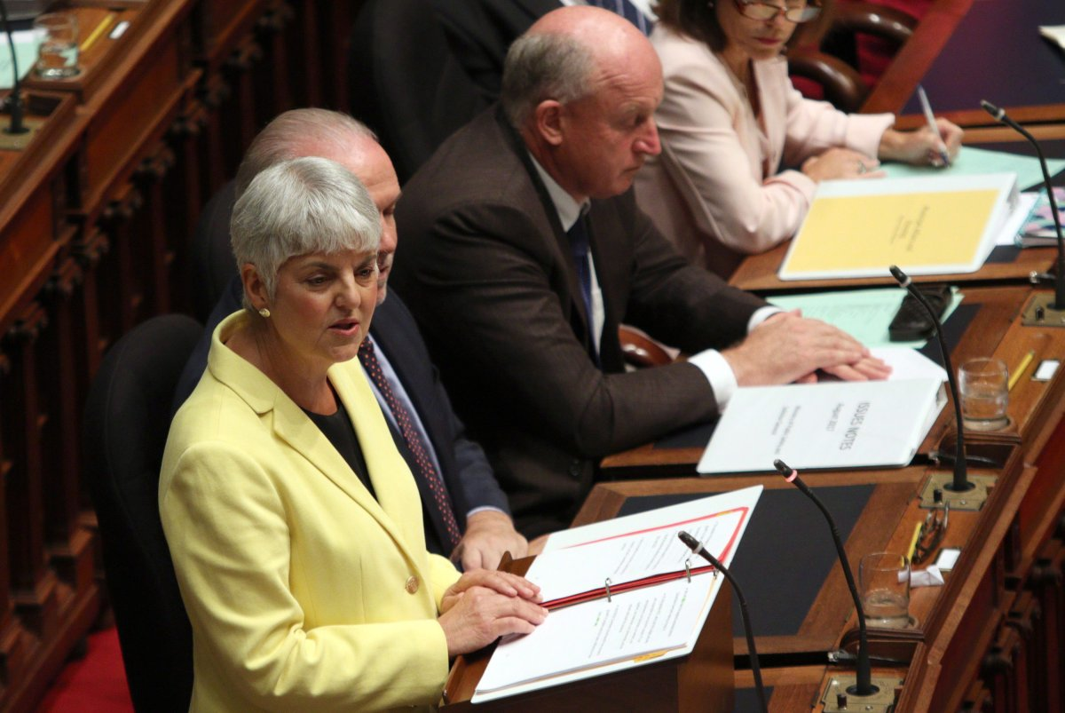 B.C. Finance Minister Carole James delivers the budget from the legislative assembly at Legislature in Victoria, B.C., on Monday, September 11, 2017.