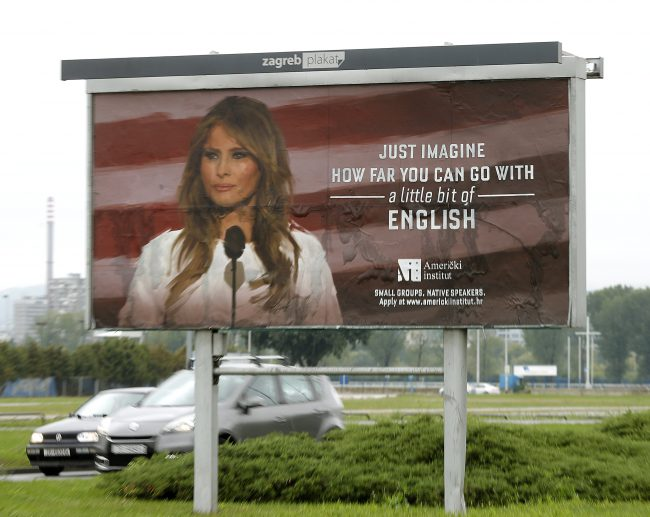 The American Institute, an association for promoting American culture and English language, invites people to learn English with a photo of First Lady Melania Trump, who was born in Slovenia.