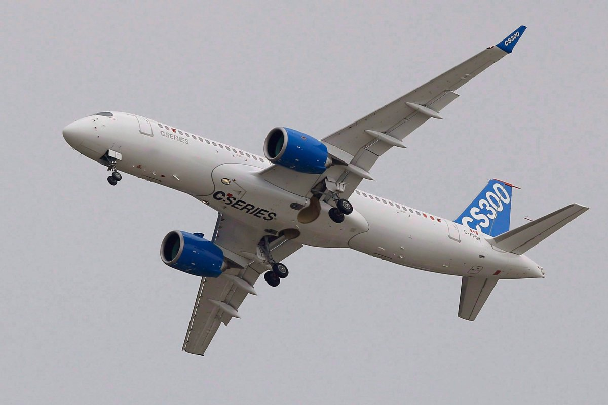 The Bombardier CS 300 performs its demonstration flight during the Paris Air Show, at Le Bourget airport, north of Paris on June 15, 2015.