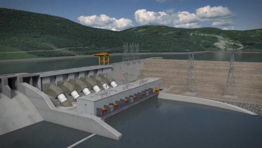 An artist's rendering of the Site C dam.
