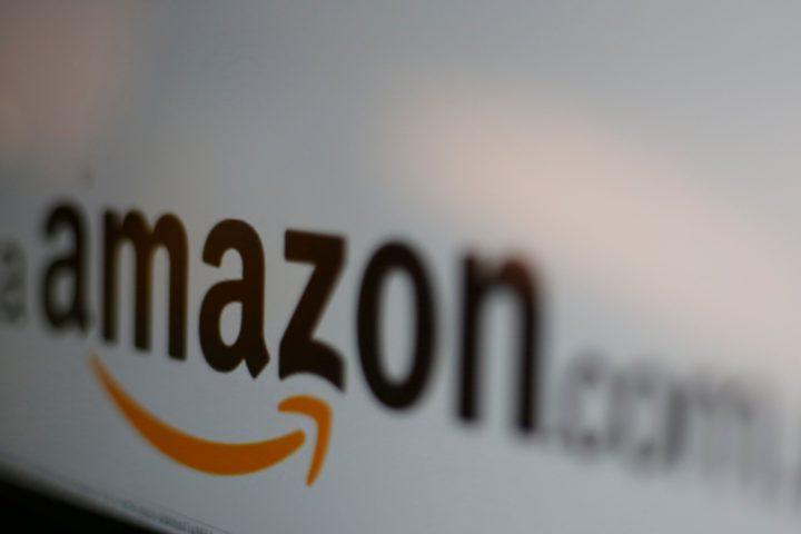 The logo of the web service Amazon.