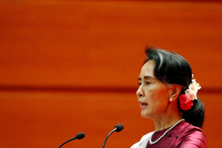 Myanmar State Counselor Aung San Suu Kyi delivers a speech to the nation over Rakhine and Rohingya situation, in Naypyitaw, Myanmar Sept. 19, 2017.