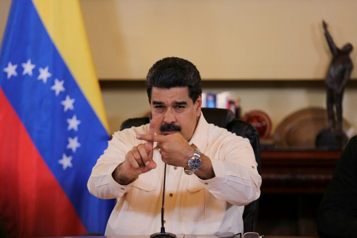 Venezuela's President Nicolas Maduro speaks during a meeting with ministers and pro government governors in Caracas, Venezuela Sept. 20, 2017.