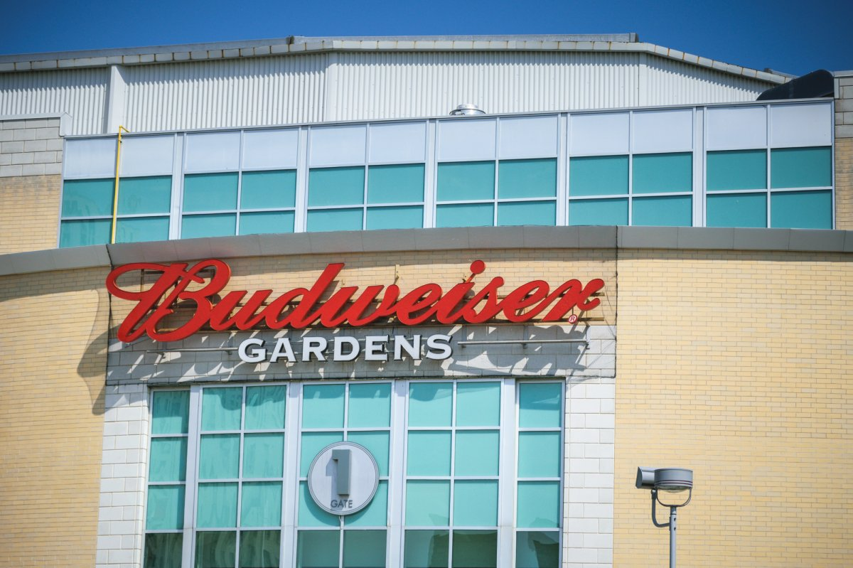 Budweiser Gardens' main sign which hangs above the venue's Gate 1 on King Street, June 14, 2017. (Matthew Trevithick/AM980).