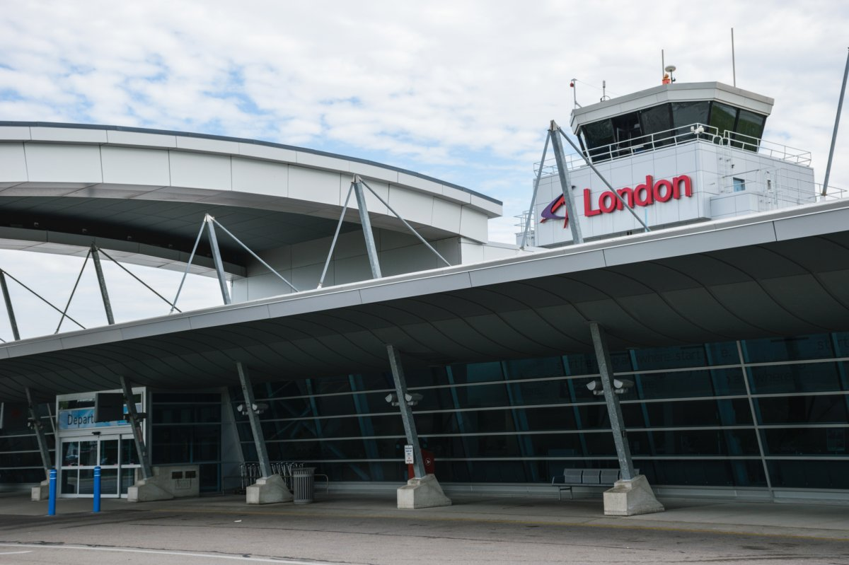 The entrance and sign to London International Airport on July 19, 2017.