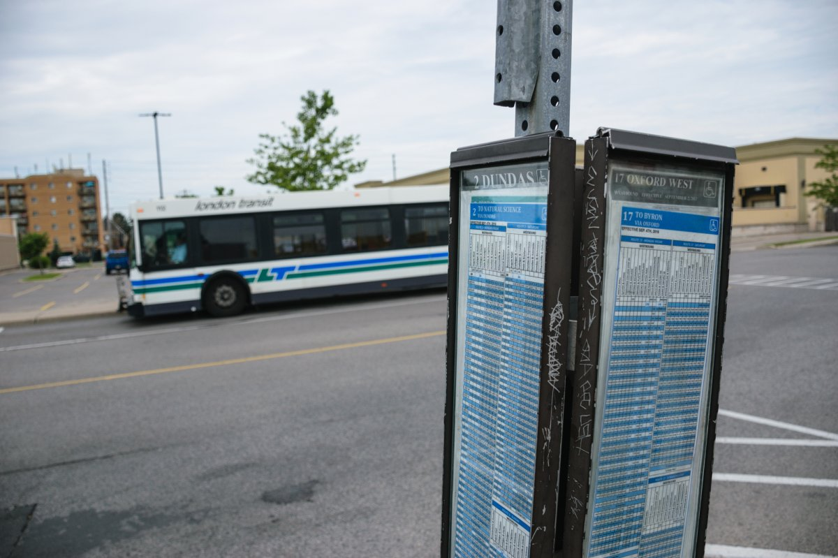 A London Transit schedule and bus at the Argyle Plaza bus terminal on July 19, 2017. (Matthew Trevithick/AM980).