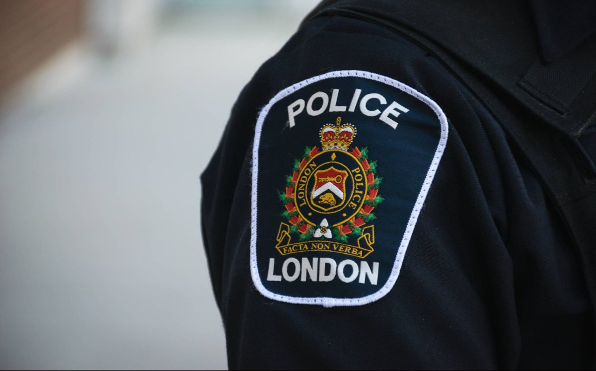 A uniformed London police patch, Sept. 6, 2017.