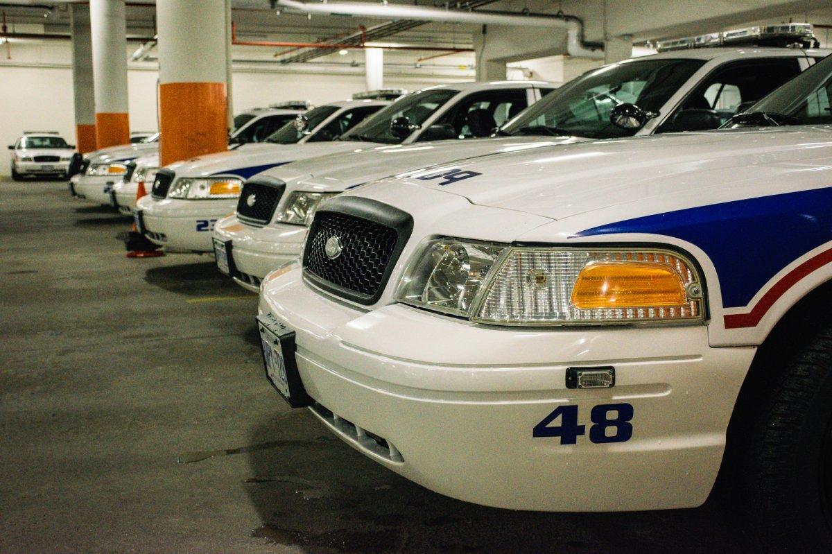 London police vehicles in police parking garage, Sept. 6, 2017.