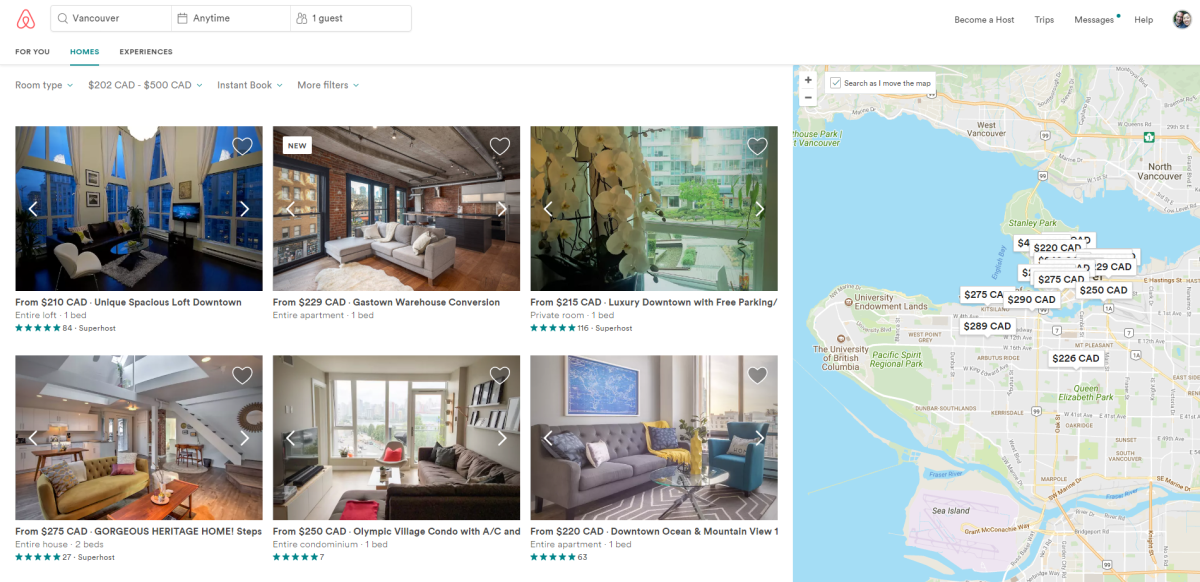 A smattering of Airbnb listings in Vancouver.