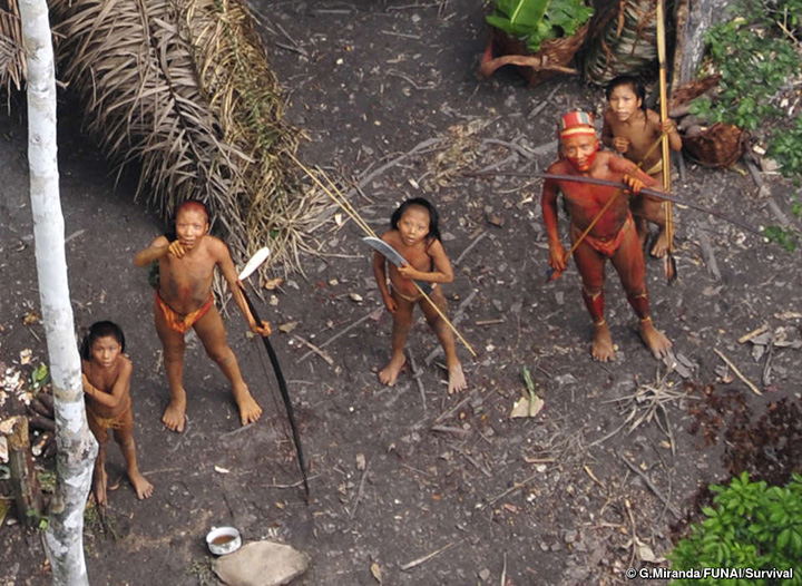 Members of an uncontacted tribe in Brazil in 2008.