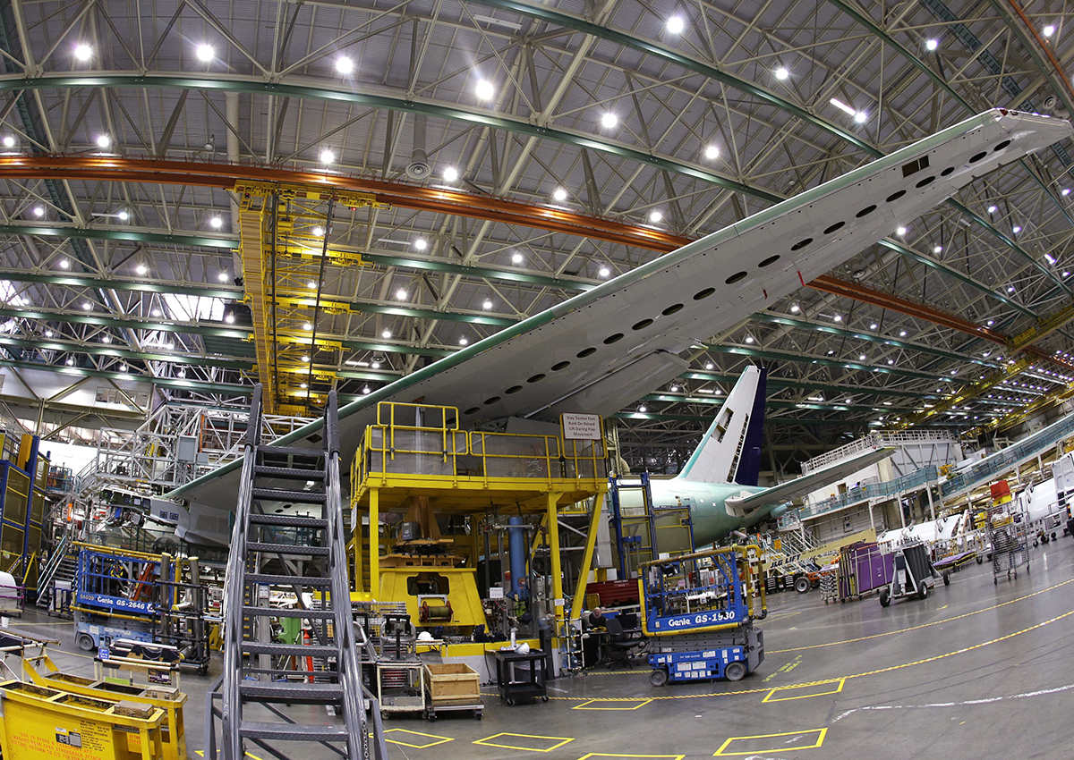 In this file photo dated Monday, June 12, 2017, a Boeing 777 plane on the assembly line in Everett, Washington.